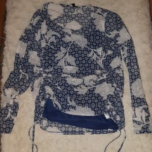2 peice, rutched, sheer, blue and white lace top